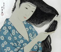 Woman Combing her Hair Silver by Hashiguchi Goyo